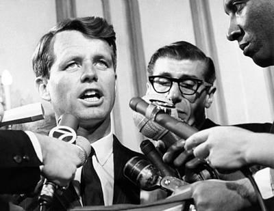 Rfk Photograph - Senator Robert Kennedy In A Press by Everett
