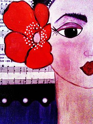 Senorita Con Flor Art Print by Mela Lucia