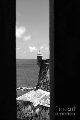 Sentry Tower View Castillo San Felipe Del Morro San Juan Puerto Rico Black And White Print by Shawn O'Brien