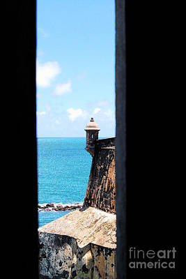 Sentry Tower View Castillo San Felipe Del Morro San Juan Puerto Rico Ink Outlines Print by Shawn O'Brien