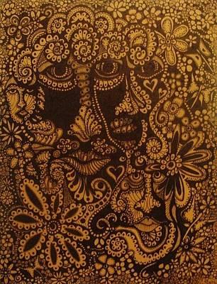 Sepia Ink Mixed Media - Sepia Faces by Gerri Rowan