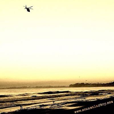 Helicopter Photograph - #sepia #helicopter #santabarbara by Sean Malarkey