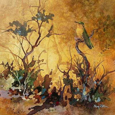 Wall Art - Painting - Sepia Hummingbird by Floy Zittin