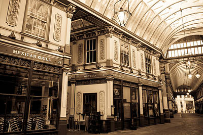 Sepia Toned Image Of Leadenhall Market London Art Print by David Pyatt