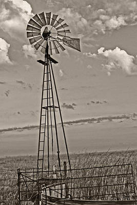 Sepia Windmill And Tank Art Print by Tony Grider