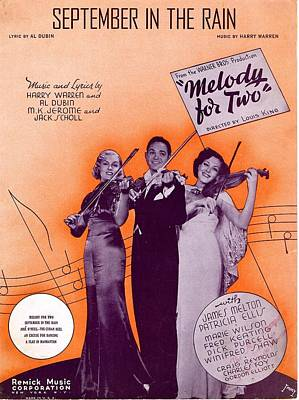 Old Sheet Music Photograph - September In The Rain by Mel Thompson