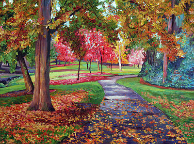 Dramatic Fall Painting - September Park by David Lloyd Glover