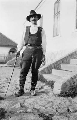 1880s Portaits Photograph - Serbian Man Wearing Hat, Vest, Belted by Everett