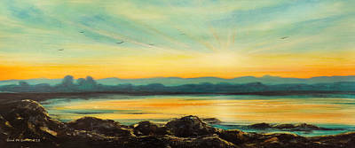 Painting - Serenity - Panoramic Sunset by Gina De Gorna