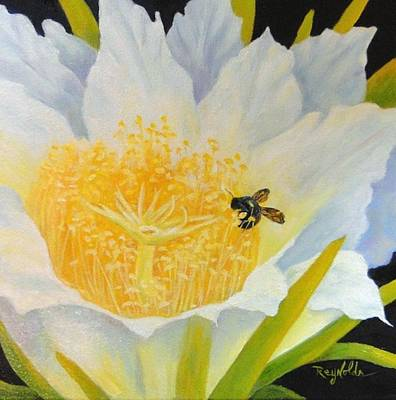 Night Blooming Cereus Painting - Serious About Cereus by Carol Reynolds