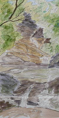Painting - Set Rock Creek Falls - A Sketch by Joel Deutsch