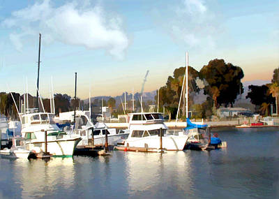 Danae Painting - Setting Sun At Dana Point Harbor by Elaine Plesser