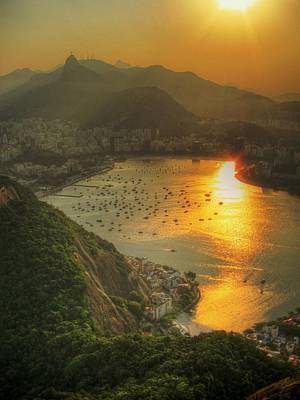 Built Structure Photograph - Setting Sun Over Botafogo by by AJ Brustein