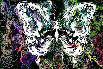 Found Art Mixed Media - Seven Butterflies by Angelina Vick