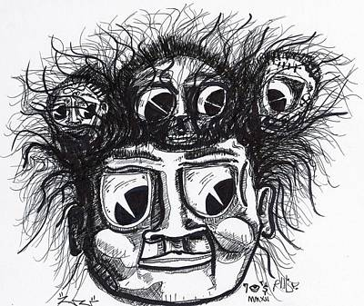 Contemporary Abstract Drawing - Seven Eyes by Robert Wolverton Jr