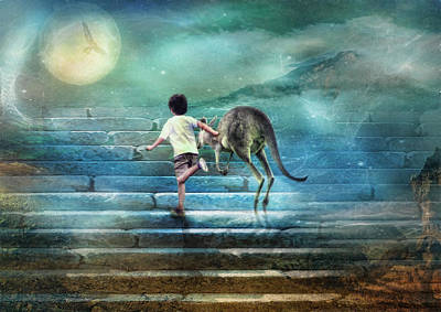 Seven Steps To The Moon Art Print by Trudi Simmonds
