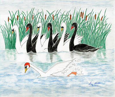 Painting - Seven Swans A Swimming by Ani Todd Smith