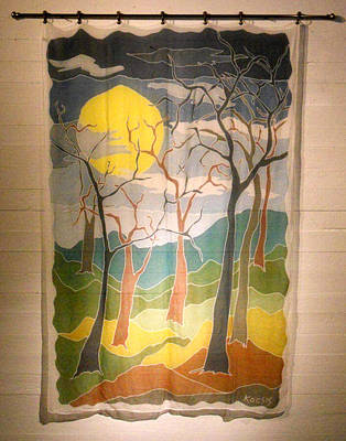Silk Wall-hanging Painting - Seven Trees by Rollin Kocsis