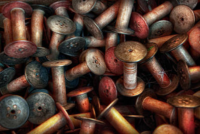 Bobbins Photograph - Sewing - Spools  by Mike Savad