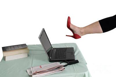 Sexy Woman Kicks A Laptop  Art Print by Ilan Rosen