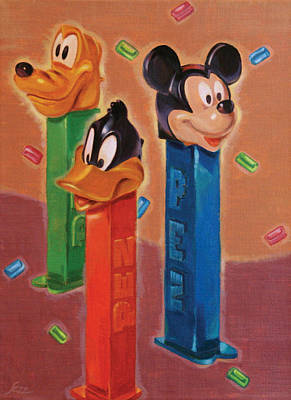 Pez Dispenser Painting - Sezz Does The Pez by Shawn Shea