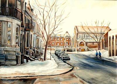 Montreal Winter Scenes Painting - Shaar Hashomayim Westmount Montreal  by Carole Spandau