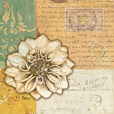 Postcards Painting - Shabby Chic Floral 1 by Debbie DeWitt