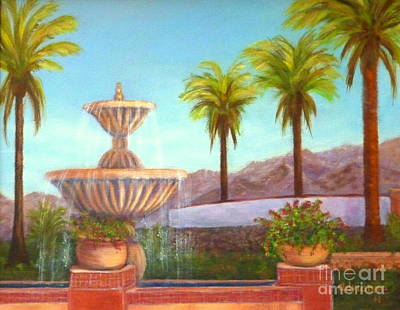 Pottery Water Fountain Painting - Shadow Hills by Adrianne  Wagers