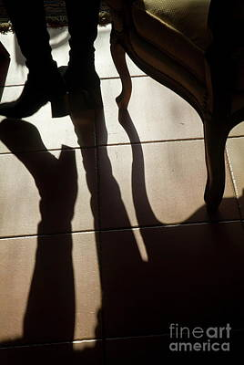 Shadow Of Woman's Foot And Furniture On Floor Art Print by Sami Sarkis