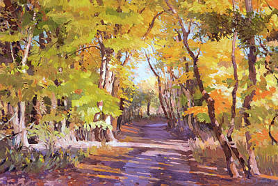 Shady Path At Fall In The Woods Art Print