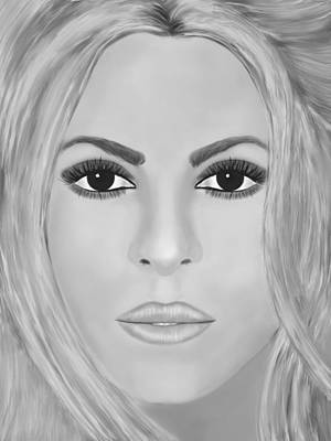 Shakira Wall Art - Digital Art - Shakira Black And White by Mathieu Lalonde