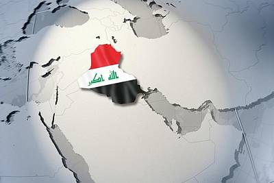 Travel Destinations Digital Art - Shape And Ensign Of Iraq On A Globe by Dieter Spannknebel