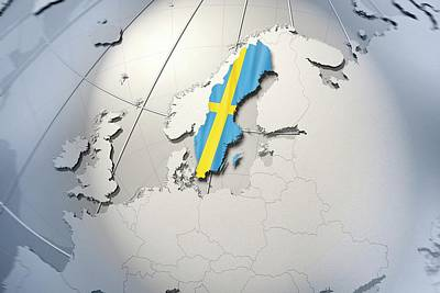Shape And Ensign Of Sweden On A Globe Art Print by Dieter Spannknebel