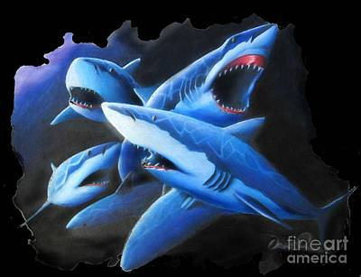Sharks In Coral Art Print