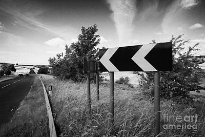 Carriageway Photograph - Sharp Bend Roadsign On A71 Single Carriageway Through The Irvine Valley Scotland Uk United Kingdom by Joe Fox