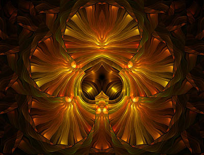 Fractal Geometry Digital Art - Shattered Five Leaf Clover Abstract by Georgiana Romanovna