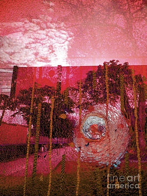 Art Print featuring the photograph Abstract Shattered Glass Red by Andy Prendy