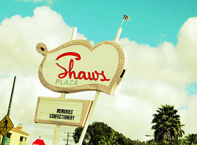 Photograph - Shaws Plaza Retro Sign by Kathleen Grace