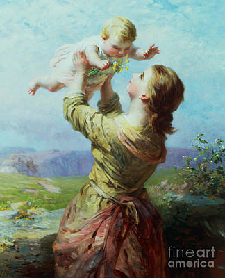 Woman Holding Baby Painting - She Looks And Looks And Still With New Delight by James John Hill