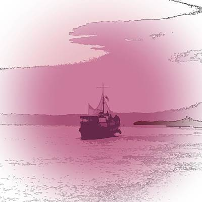 Abstract Seascape Digital Art - She Sails by Sharon Lisa Clarke