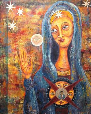 Russian Icon Mixed Media - She Sees And Blesses All by Suzan  Sommers