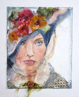 Fabric Mixed Media - She Was Beautiful by P Maure Bausch