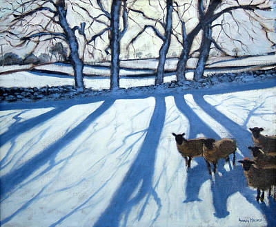 Country In Winter Painting - Sheep In Snow by Andrew Macara