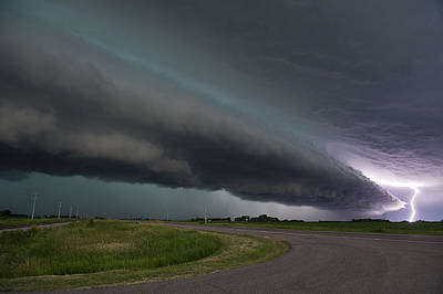 Lightning Bolt Photograph - Shelf Cloud And Lightning by Jennifer Brindley