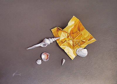 Drawing - Shells Of The Day by Elena Kolotusha
