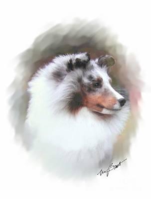Shetland Sheepdog Digital Art - Sheltie Blue by Maxine Bochnia