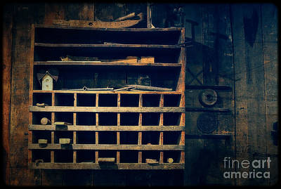 Mill In Woods Photograph - Shelves In The Cedar Creek Mill  by Mary Machare