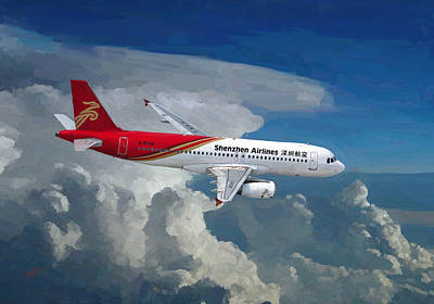 Shenzhen Airlines Painting - Shenzhen Airlines Airbus A320 B-6740 Descending by Nop Briex