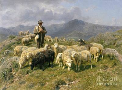 Mountain Painting - Shepherd Of The Pyrenees by Rosa Bonheur