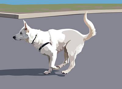 White German Shepherd Dog Digital Art - Shepherd Sprint by Kris Hackleman